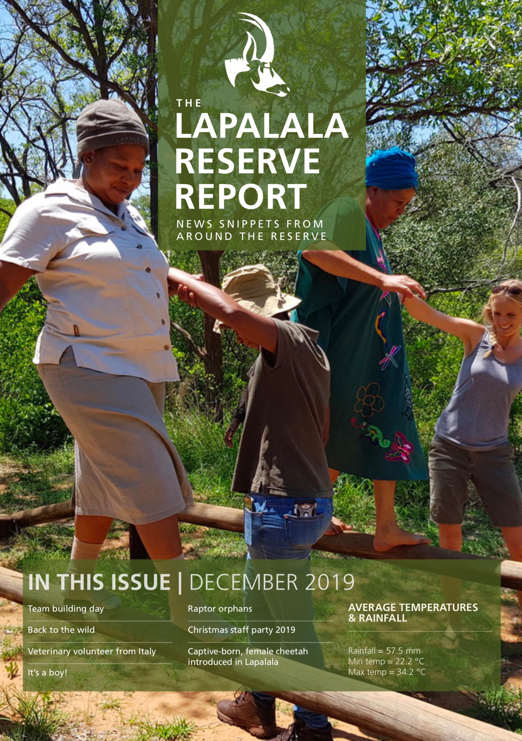 Lapalala Reserve Report –  December 2019