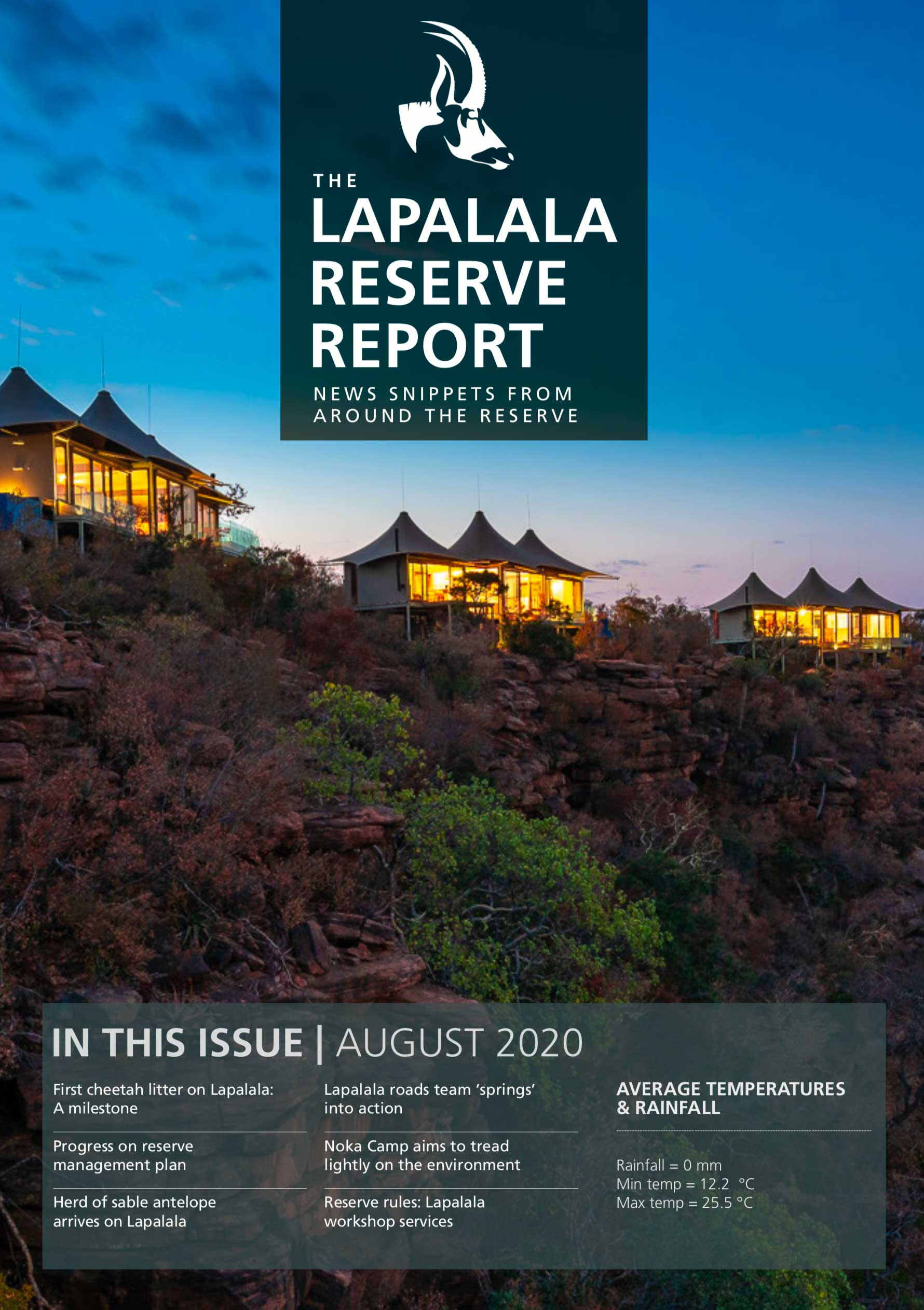 Lapalala Reserve Report – August 2020
